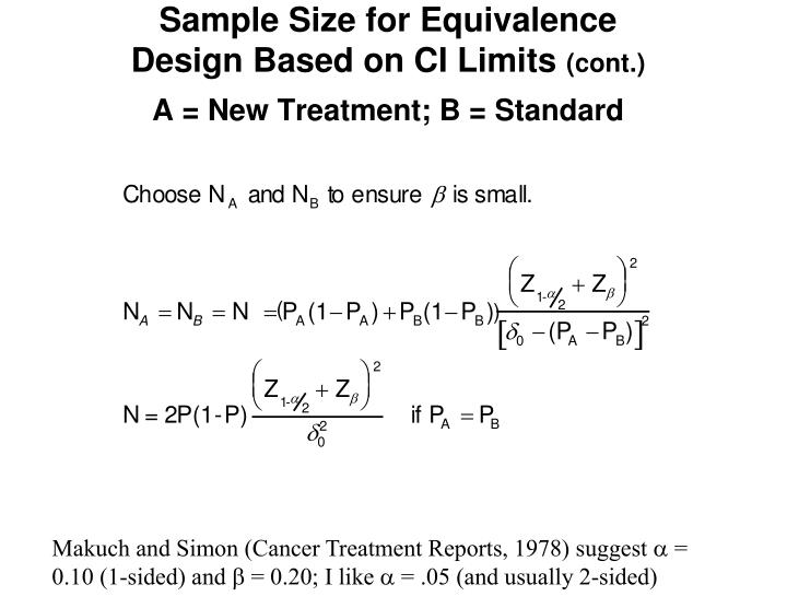 Sample Size for Equivalence