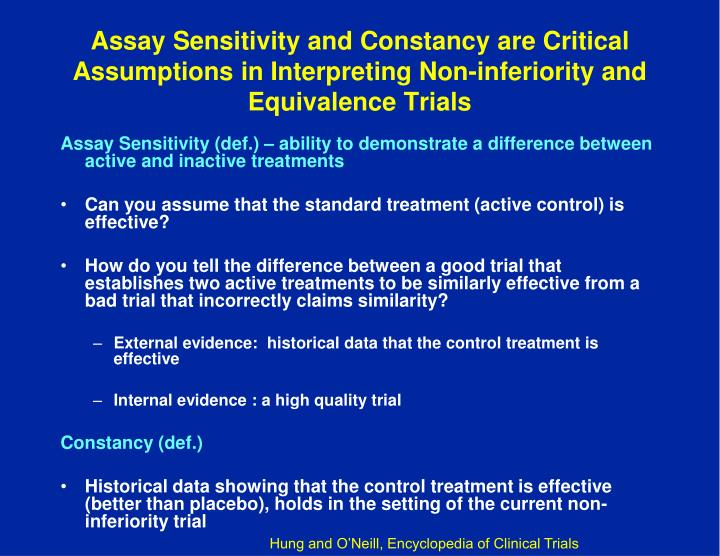 Assay Sensitivity and Constancy are Critical Assumptions in Interpreting Non-inferiority and