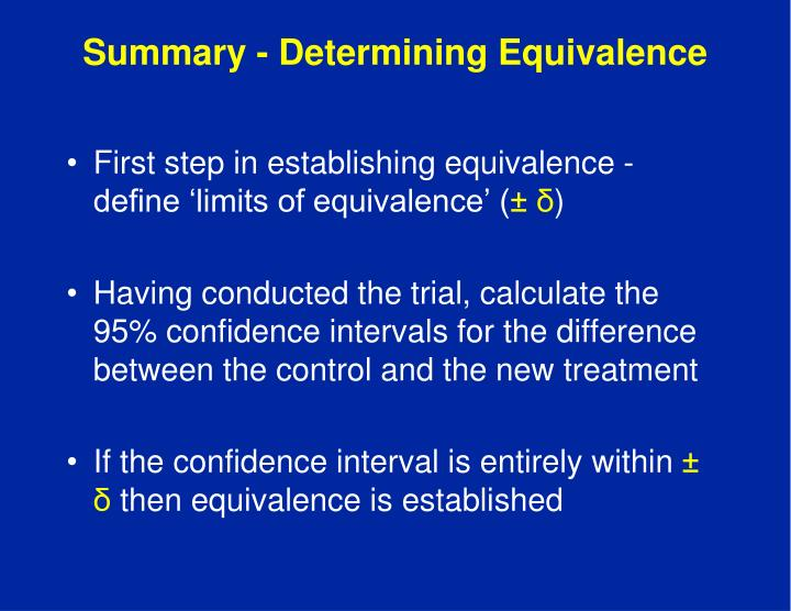 Summary - Determining Equivalence