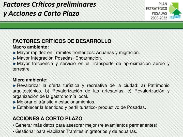 Factores Críticos preliminares