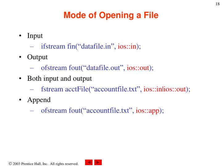Mode of Opening a File
