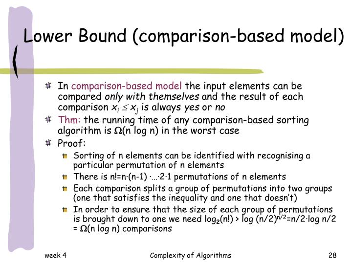 Lower Bound (comparison-based model)