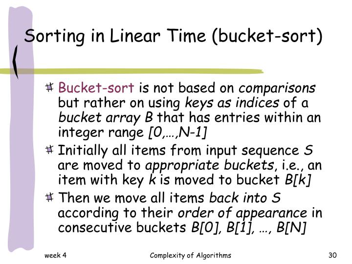 Sorting in Linear Time (bucket-sort)