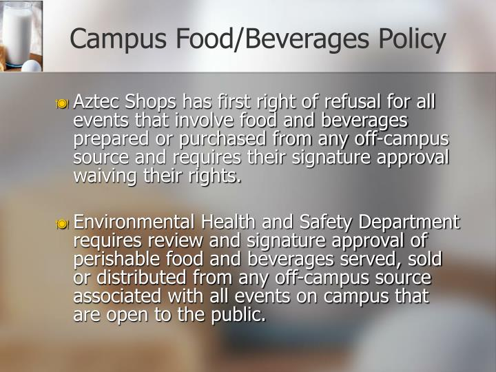 Campus Food/Beverages Policy