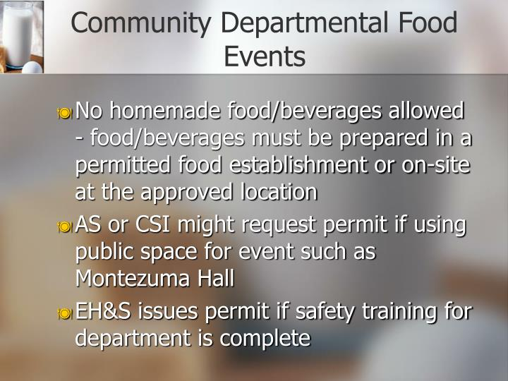 Community Departmental Food Events