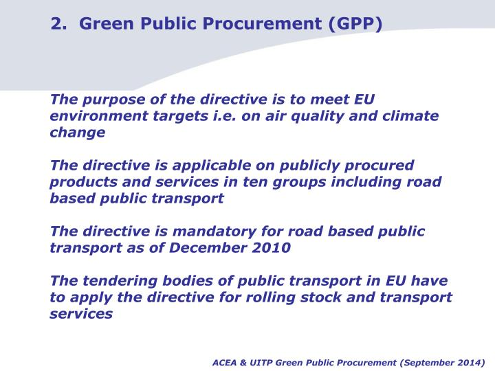 2.  Green Public Procurement (GPP)