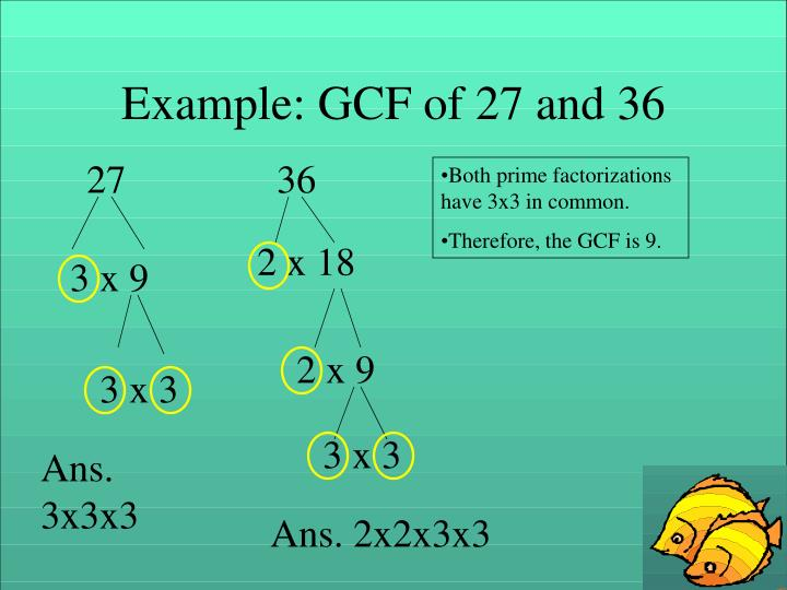 Example: GCF of 27 and 36