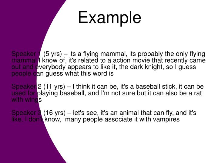 Speaker 1 (5 yrs) – its a flying mammal, its probably the only flying mammal I know of, it's related to a action movie that recently came out and everybody appears to like it, the dark knight, so I guess people can guess what this word is