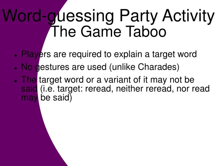 Word-guessing Party Activity