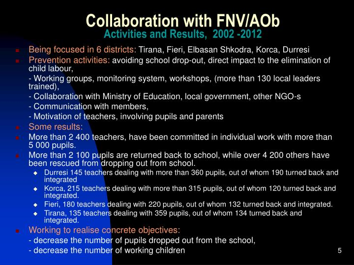 Collaboration with FNV/AOb