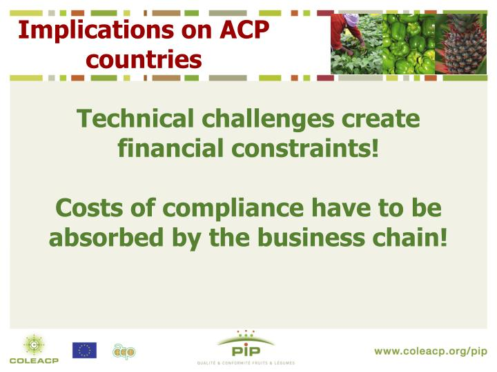 Implications on ACP countries