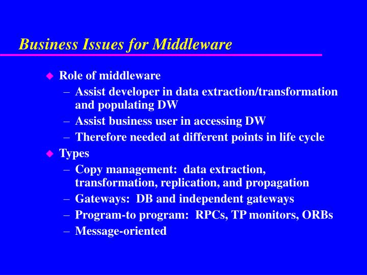 Business Issues for Middleware