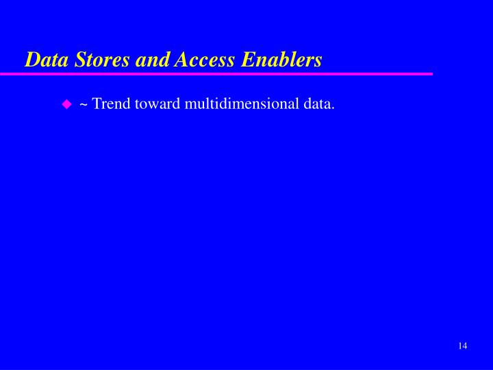 Data Stores and Access Enablers