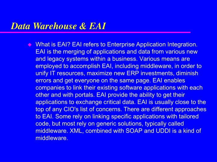 Data Warehouse & EAI