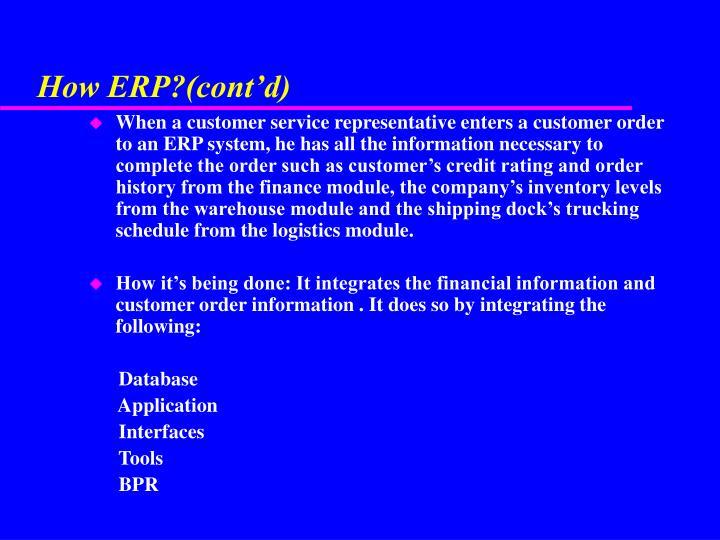 How ERP?(cont'd)