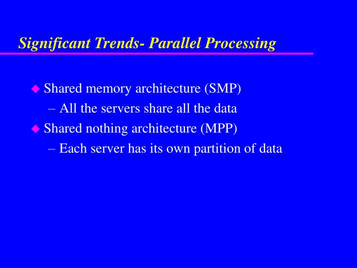 Significant Trends- Parallel Processing