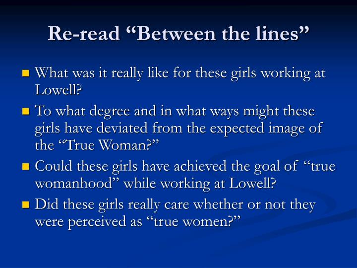 "Re-read ""Between the lines"""