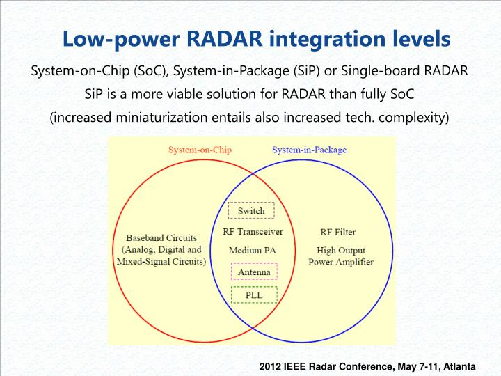 Low-power RADAR integration levels