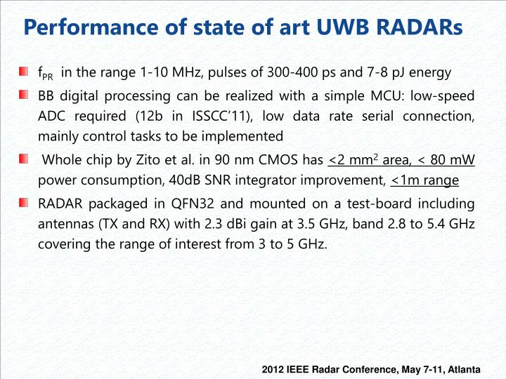 Performance of state of art UWB RADARs