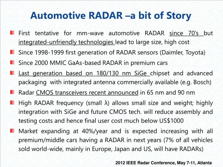 Automotive RADAR