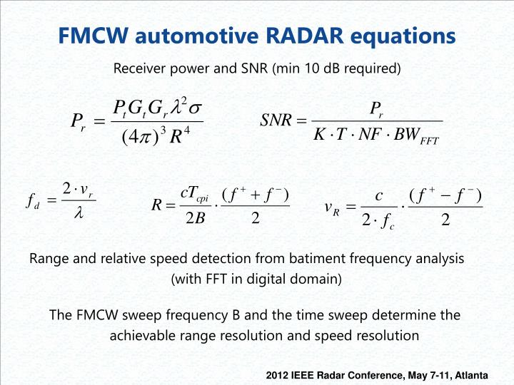 FMCW automotive RADAR equations