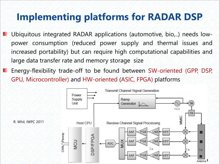 Implementing platforms for RADAR DSP