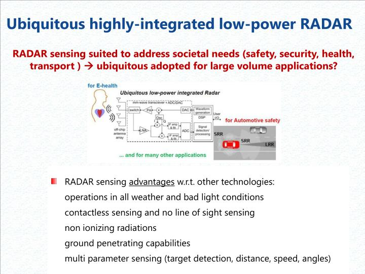 Ubiquitous highly-integrated low-power RADAR