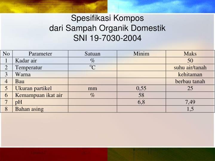 Spesifikasi Kompos