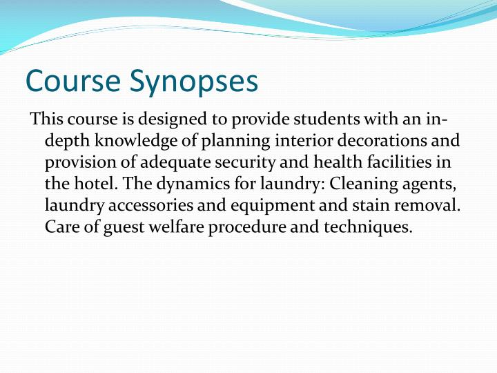 Course synopses