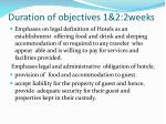 duration of objectives 1 2 2weeks