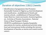 duration of objectives 11 12 2weeks