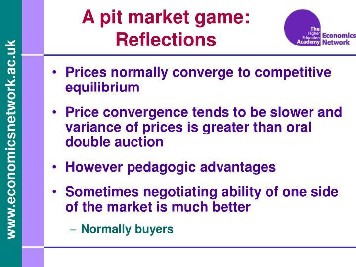 A pit market game: