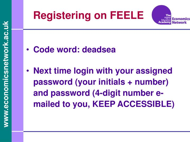 Registering on FEELE