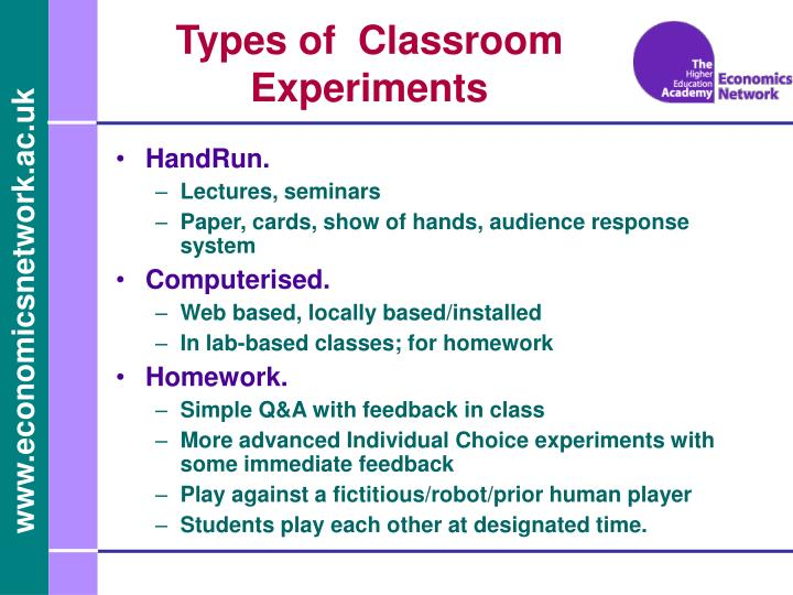 Types of classroom experiments