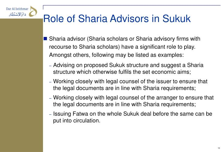 Role of Sharia Advisors in Sukuk
