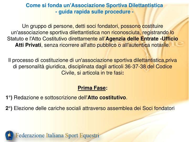 Come si fonda un'Associazione Sportiva Dilettantistica