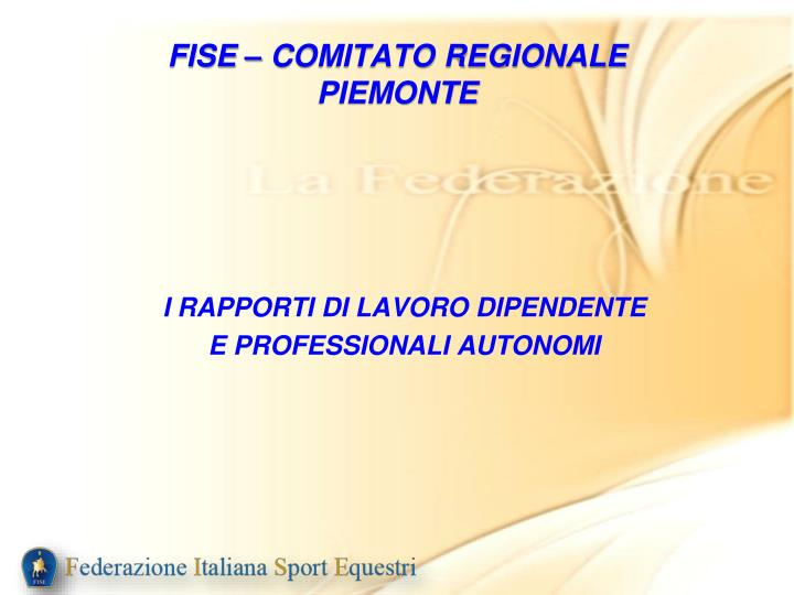 FISE – COMITATO REGIONALE