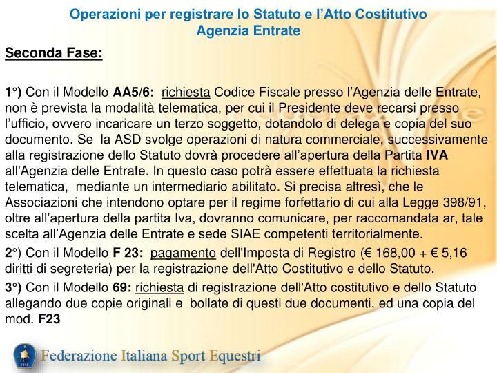 Operazioni per registrare lo Statuto e l'Atto Costitutivo Agenzia Entrate
