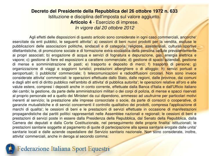 Decreto del Presidente della Repubblica del 26 ottobre 1972 n. 633
