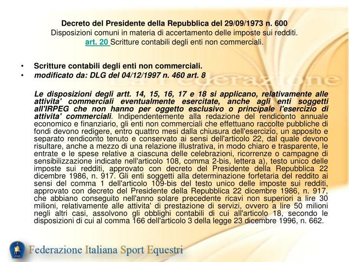 Decreto del Presidente della Repubblica del 29/09/1973 n. 600