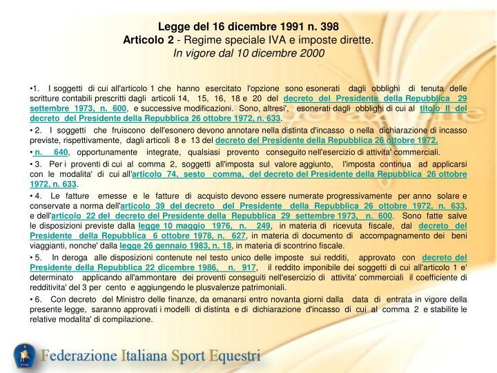 Legge del 16 dicembre 1991 n. 398