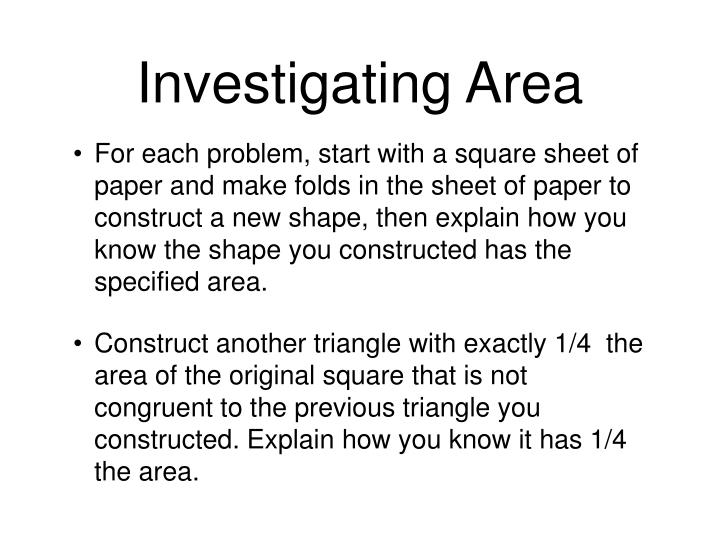 Investigating Area