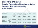 2025 foc nas level spatial resolution requirements for weather hazard caused by convection
