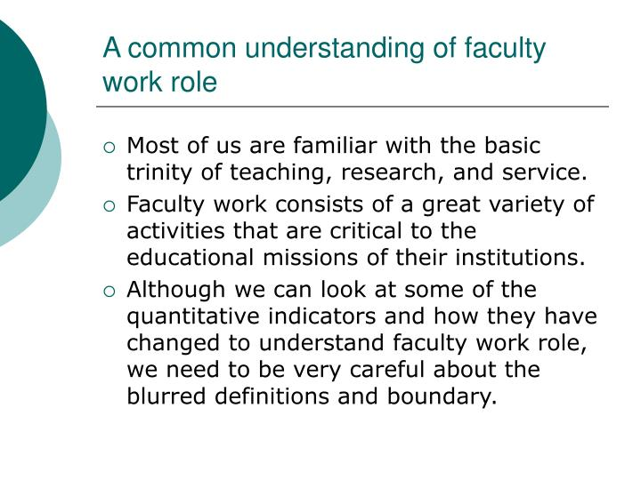 A common understanding of faculty work role