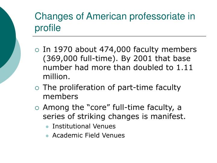 Changes of american professoriate in profile