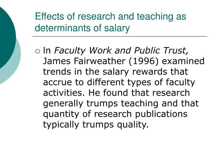 Effects of research and teaching as determinants of salary