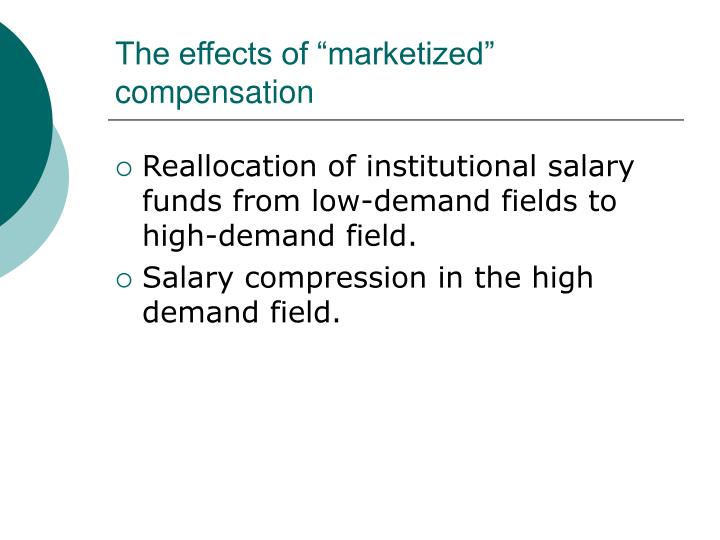 "The effects of ""marketized"" compensation"