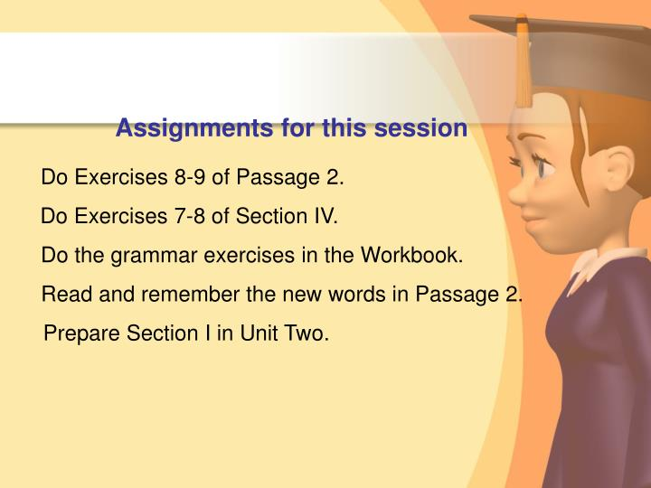 Assignments for this session