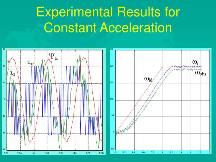 Experimental Results for Constant Acceleration