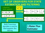 set of obsrvers for state estimation and filtering